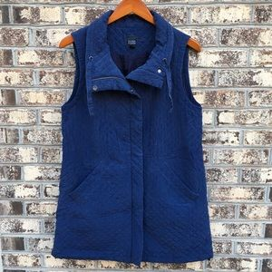 Eileen Fisher Blue Silk Quilted Duster Tunic Vest
